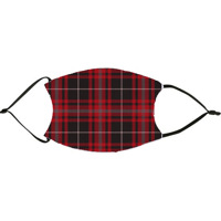 Red Black Grey Plaid Face Mask