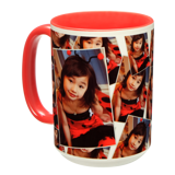 15 oz. Tiled Ceramic Red Photo Mug