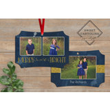 Navy Merry & Bright Incut Ornament