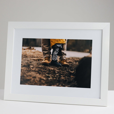400x300mm Print in a 30mm White Frame with a 200x300mm image  (50mm white space on all sides)