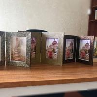 Grey/Gold Ribbed Hinged 2 5x7 Prints