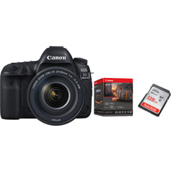 Canon-EOS 5D Mark IV with EF 24-105mm F4L IS II USM Lens and Premium Accessory Kit and  128GB Memory Card-Digital Cameras