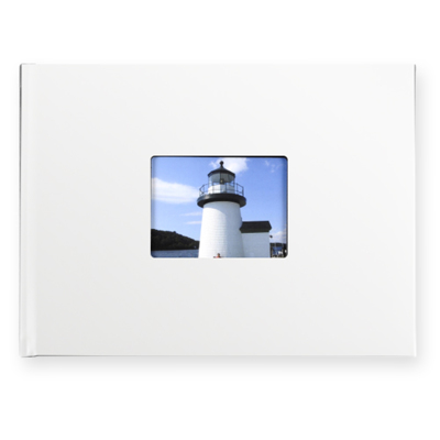 8.5 x 11.5 Leather Hardcover Photo Book with Keyhole (White)
