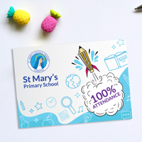 50 x 100% Attendance Post Cards