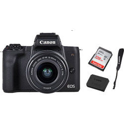 Canon-EOS M50 Mirrorless Camera with EF-M 15-45mm IS STM Lens - 128GB Card - Strap and Battery-Digital Cameras