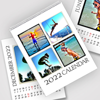 A4 White Background 2022 Wire Bound Calendar - 13 Pages on 300GSM