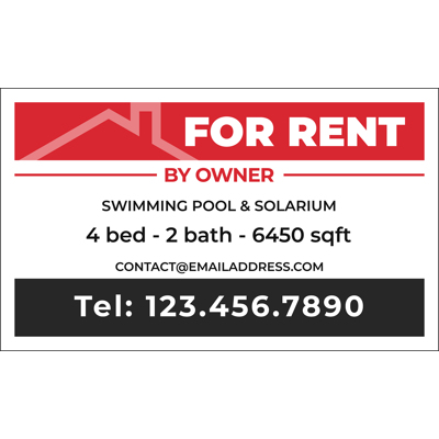 HOUSE FOR RENT Banner - 30x18