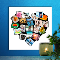 300x300mm (12 x 12inch) Heart Collage UV Canvas (20 photos)