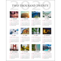 400x500mm Genuine Photographic Poster Calendar with 12 images