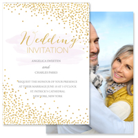 5x7 2 Sided Wedding Invitation (Confetti)