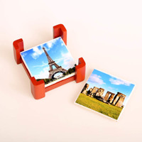 Four Ceramic Tile Coasters with holder