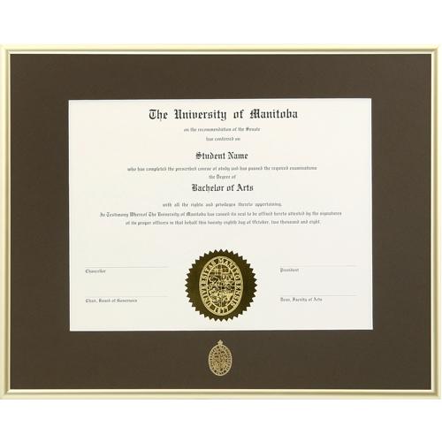 Degree/Certificate Frame - Gold Metal - MANITOBA1215G - University ...