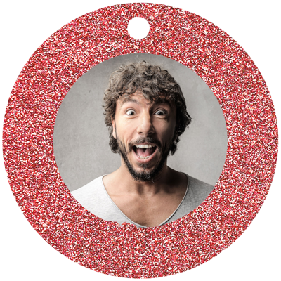 Circle Framed (Red Sparkle)
