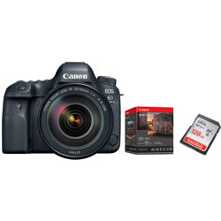 Canon-EOS 6D Mark II DSLR Camera with EF 24-105mm F4L IS II USM Lens - Premium Accessory Kit and 128 GB Memory Card-Digital Cameras
