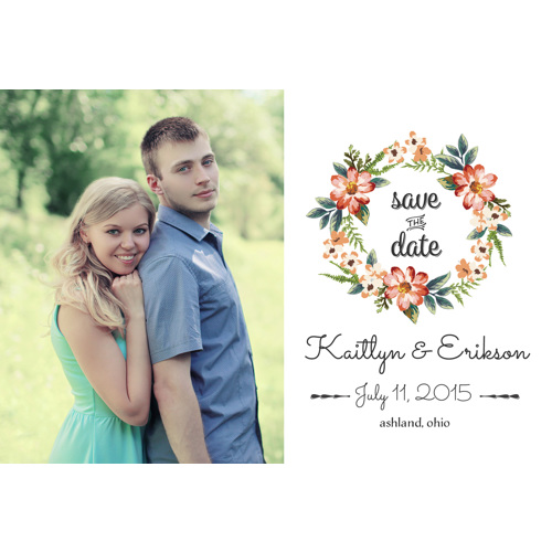 Watercolor Wreath Save the Date