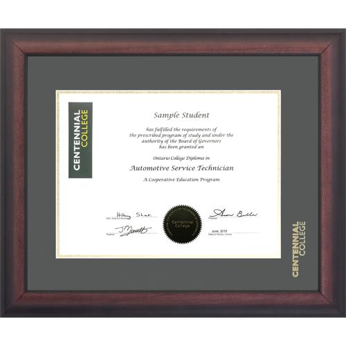 Centennial College Briarwood Mahogany Diploma Frame - CENT1316BM ...