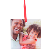 Frosted Glass Square Ornament