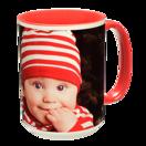 15 oz. Colorful Ceramic Red Photo Mug