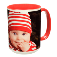 15 oz. Colorful Ceramic Red Photo Mug
